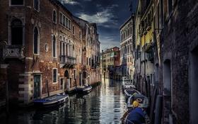 Картинка город, стены, здания, лодки, Италия, Венеция, канал