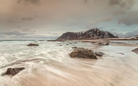 Обои море, небо, горы, камни, Норвегия