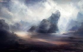 Обои облака, река, уступ, деревья, арт, лодка