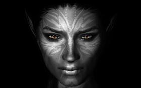 Обои раскраска, Skyrim, девушка, лицо, темный фон