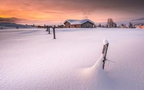 Обои зима, снег, дома
