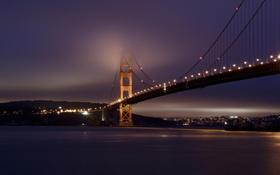 Обои мост, город, огни, освещение, залив, США