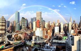 Обои небоскреб, радуга, мегаполис, дома, небо, облака