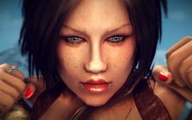 Обои глаза, девушка, игра, рыжая, красивые, The Elder Scrolls V Skyrim, красные ногти