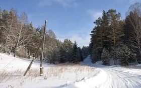 Обои зима, дорога, пейзаж, природа, фото, поворот