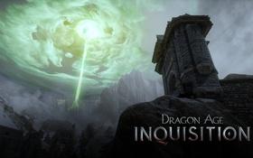 Обои dragon age inquisition, скалы, небо, замок, магия, горы, тучи