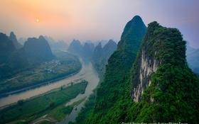 Обои небо, горы, река, дымка