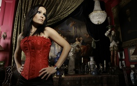 Картинка замок, Tarja Turunen, певица, красный корсет, девушка, nightwish