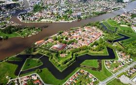 Обои река, дома, Норвегия, панорама, мосты, вид сверху, Fredrikstad
