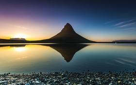 Картинка природа, озеро, отражение, гора, силуэт