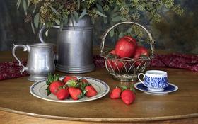 Обои бидон, посуда, ветки, яблоки, клубника