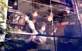 Картинка девушка, книги, окно, арт, библиотека, парень, лампочки