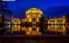 Обои ночь, подсветка, Здание, Palace of Fine Arts, San Francisco