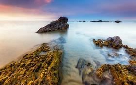 Обои камни, скалы, небо, облака, море