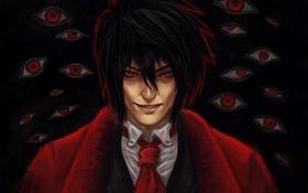 Обои глаза, взгляд, улыбка, вампир, парень, Hellsing, Хеллсинг