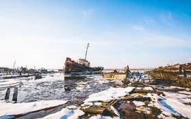 Обои солнечно, лодка, порта, лед, масса, небо, крушение