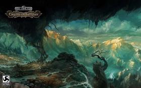 Картинка деревья, пейзаж, горы, обрыв, арт, реки, The Dark Eye: Chains of Satinav