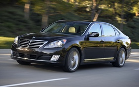 Обои Hyundai, speed, Equus, car, road, black, wallpapers