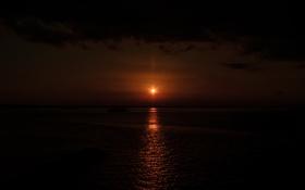 Обои вечер, небо, солнце, море