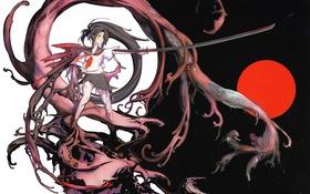Картинка девушка, оружие, монстр, катана, аниме, арт, школьница