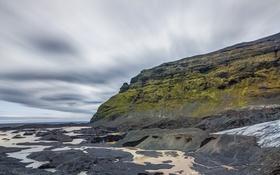 Картинка море, горы, отлив, облака, небо, скалы, камни