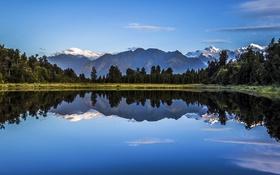 Обои озеро, зеркало, отражение, горы, небо, деревья, облака
