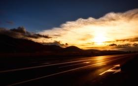 Картинка дорога, небо, утро