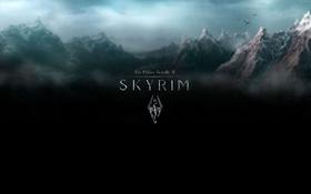 Обои скайрим, skyrim, небо, горы, тучи, game