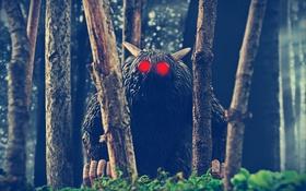 Обои лес, Hairy Men, Rat Creature, рога, красные глаза, Bone, деревья