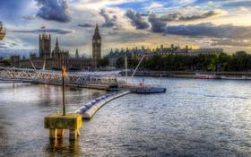 Обои облака, река, небо, Темза, Лондон, деревья, биг бэн