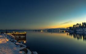 Обои море, небо, огни, Норвегия, зарево