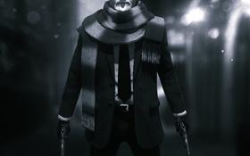 Обои пистолеты, темно, человек, шарф, костюм, галстук