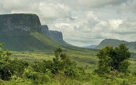 Обои небо, облака, горы, долина, Бразилия, Баия, Шапада-Диамантина