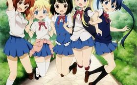 Обои радость, девушки, аниме, арт, форма, школьницы, oomiya shinobu
