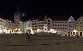 Обои ночь, огни, башня, дома, Германия, Бавария, площадь