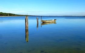 Картинка река, лодка, небо, озеро, горизонт