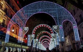 Картинка ночь, огни, праздник, улица, Франция, дома, Лион