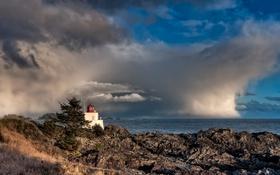 Обои камни, Канада, горизонт, маяк, Ucluelet, море, побережье