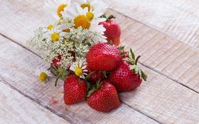 Обои клубника, strawberry, fresh berries, ягоды, цветы