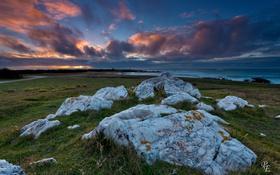 Обои закат, камни, побережье, море