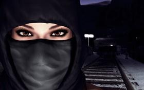 Обои рельсы, Lara Croft, глаза, зима, ресницы, холод, снег