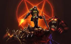 Обои солдат, монстры, hell, DooM