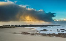 Обои песок, море, небо, облака, берег