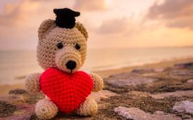 Обои мишка, heart, love, toy, sweet, bear, romantic