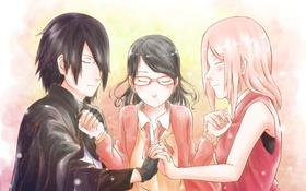 Обои Sakura, naruto, art, Sasuke Uchiha, Sarada Uchiha