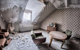 Обои стол, комната, телевизор