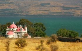 Обои море, храм, Sea of Galilee