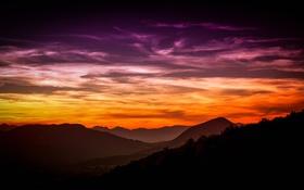 Картинка небо, горы, вечер, склон, зарево
