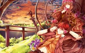 Картинка девушка, пейзаж, закат, цветы, горы, озеро, арт