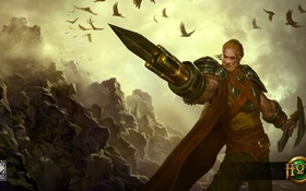 Картинка Gunblade, Týr, пушка, воин, лезвие, Heroes of Newerth, мужчина